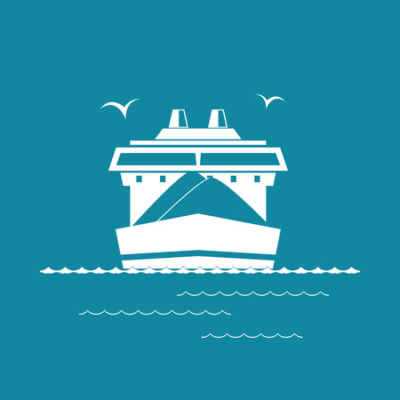 ore: Front View of the Dry Cargo Ship Isolated on Green Background, Industrial Marine Vessel is Transporting Coal and Ore, International Freight Transportation, Vector Illustration Illustration