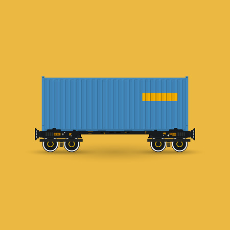 boxcar: Blue Container on Railroad Platform Isolated on Yellow Background , Railway and Container Transport, Vector Illustration Illustration