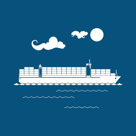 Cargo Container Ship Isolated on Blue Background, Industrial Marine Vessel with Containers on Board, International Freight Transportation, Vector Illustration