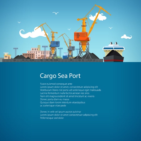 sea freight: Unloading Coal or Ore from the Dry Cargo Ship, Sea Freight Transportation, Cargo Transport, Port Warehouses and Cranes, Poster Brochure Flyer Design, Vector Illustration