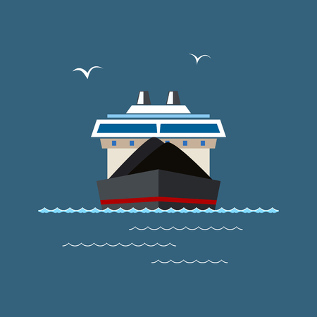 ore: Front View of the Dry Cargo Ship at Sea, Industrial Marine Vessel is Transporting Coal and Ore, International Freight Transportation, Vector Illustration