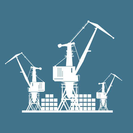Cargo Cranes and Containers at the Port Isolated on Blue, Containers and Cranes at the Dock, International Freight Transportation, Vector Illustration