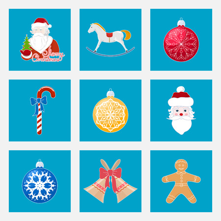 gingerbreadman: Set of Colorful Christmas Square Icons, Icon Christmas Decoration, Merry Christmas and Happy New Year, Vector Illustration Illustration