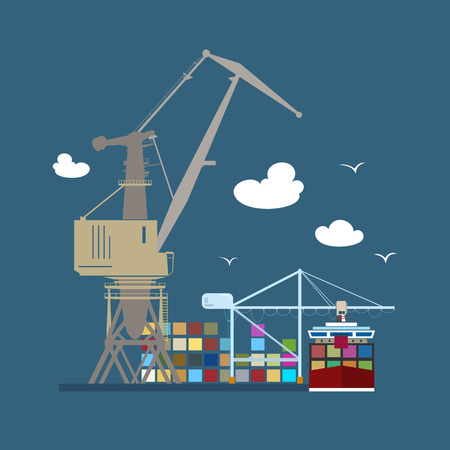 docks: Cargo Seaport , Unloading Containers from a Cargo Ship in a Docks with Cargo Crane, Container Ship at the Dock at Sea, International Freight Transportation, Vector Illustration