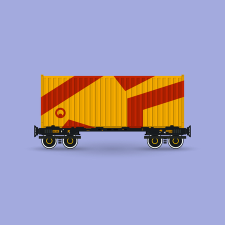 haulage: Orange Container on Railroad Platform Isolated on Purple Background , Railway and Container Transport, Vector Illustration