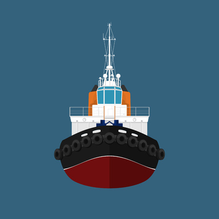 mooring: Front View of the Vessel Tugboat, Push Boat, Tow Boat for to Towage and Mooring of Other Courts , Vector Illustration Illustration