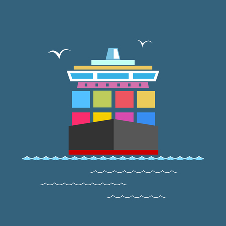 tonnage: Front View of the Cargo Container Ship at Sea, Industrial Marine Vessel with Containers on Board, International Freight Transportation, Vector Illustration