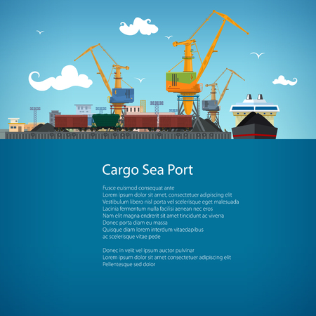 port: Unloading Coal or Ore from the Dry Cargo Ship, Sea Freight Transportation, Cargo Transport, Port Warehouses and Cranes and Train, Poster Brochure Flyer Design, Vector Illustration Illustration