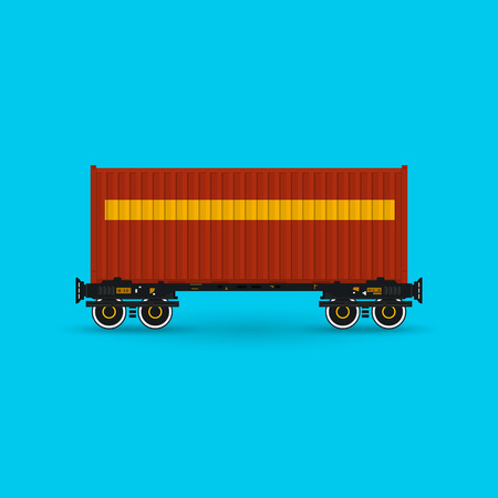 boxcar: Red Container on Railroad Platform Isolated on Blue Background , Railway and Container Transport, Vector Illustration