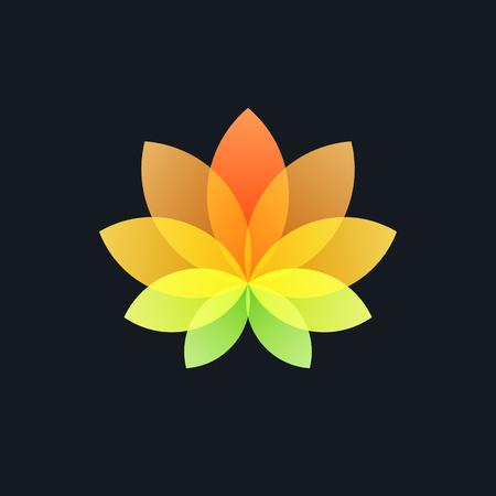 Colorful Translucent Flower on Black Background, Logo Design Element,  Illustration