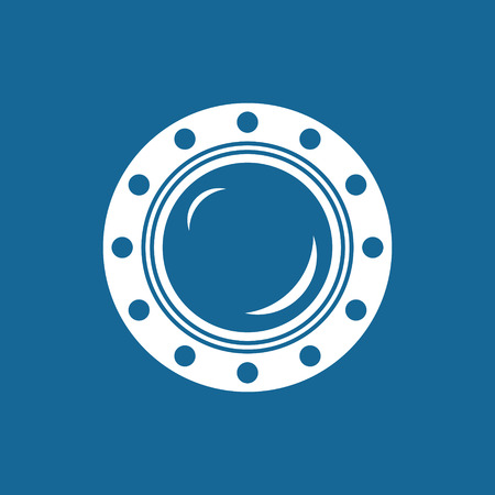 ship porthole: Porthole, Shipboard Window, Round Ship Porthole Isolated on Blue,  Illustration