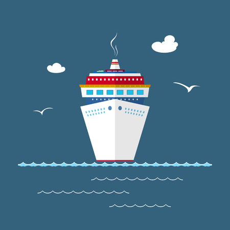 Cruise Ship at Sea, Front View of the Liner, Travel Concept , Illustration Illustration