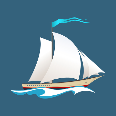 Yacht on the Waves, Sailing Vessel at Sea, Travel Concept , Illustration