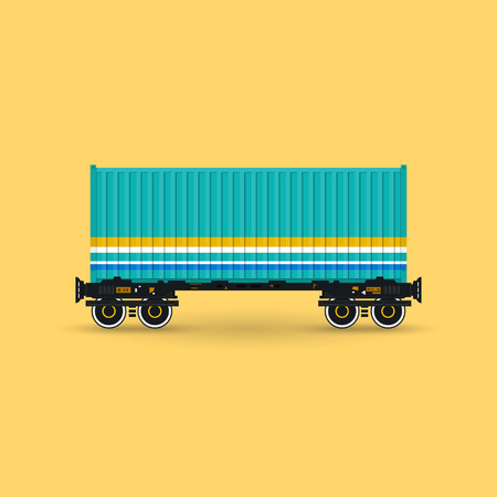 boxcar: Green Container on Railroad Platform Isolated on Yellow Background, Railway and Container Transport, Vector Illustration Illustration