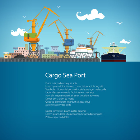 freight transportation: Unloading Oil or Liquids from the Tanker Ship, Sea Freight Transportation, Cargo Transport, Port Warehouses and Cranes, Poster Brochure Flyer Design, Vector Illustration