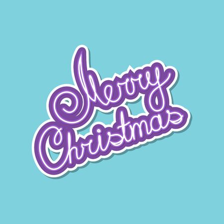 Purple Text Merry Christmas on Green Background, Poster Brochure Design, Merry Christmas and Happy New Year, Vector Illustration