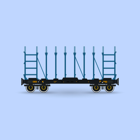 boxcar: Railway Platform Isolated on Blue Background, Railway Transport, Platform for Transportation of Bulk Cargo and Long Cargo and for Timber Transportation , Vector Illustration