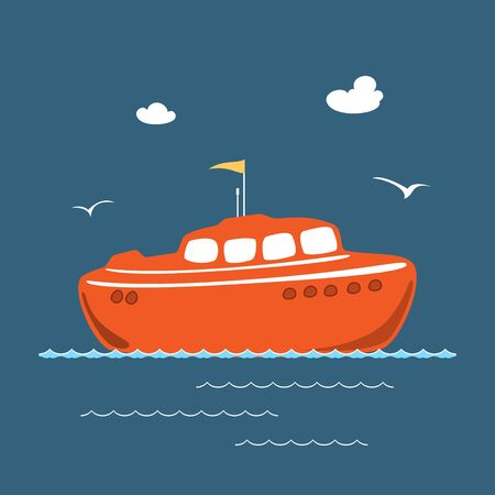 Orange Lifeboat at Sea , Marine Rescue Vessel, Flat Design , Vector Illustration