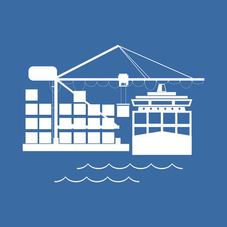 freighter: Cargo Container Ship at the Dock Isolated on Blue, Unloading Containers from a Cargo Ship in a Seaport with Cargo Crane, International Freight Transportation, Vector Illustration