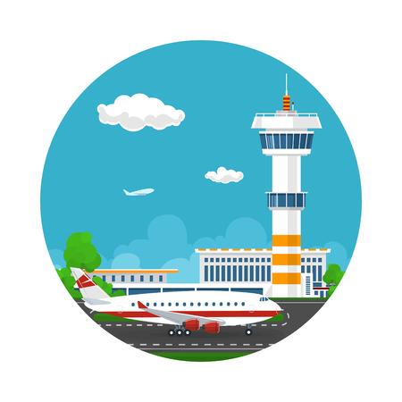 Aankomsten op de luchthaven, Icon Control Tower en Vliegtuig op de achtergrond van de stad, Reizen en Toerisme Concept, Air Travel en Vervoer, Vector Illustratie