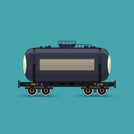 tank car: Tank on Railway Platform Isolated on Green Background, Railway Transport, Railway Tank Car for Transportation of Liquid and Loose Freights , Vector Illustration Illustration