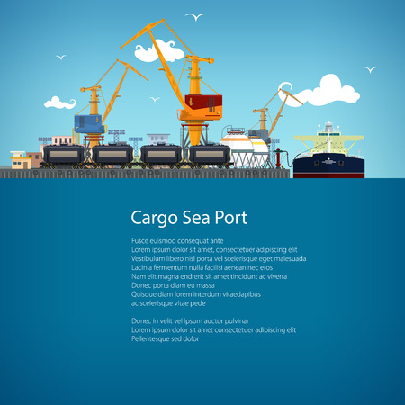 sea freight: Unloading Oil or Liquids from the Tanker Ship, Sea Freight Transportation, Cargo Transport, Port Warehouses and Cranes and Railway Tank Cars, Poster Brochure Flyer Design, Vector Illustration Illustration
