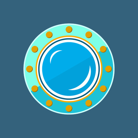 Round Ship Porthole, Shipboard Window, Vector Illustration