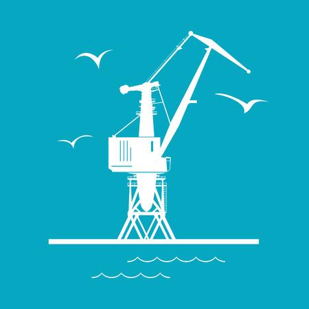 dockyard: Marine Dockside Crane, Port Cargo Crane Isolated on Green, Vector Illustration