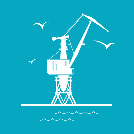 Marine Dockside Crane, Port Cargo Crane Isolated on Green, Vector Illustration