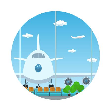 waiting room: Icon Airport , View on Airplane through the Window from a Waiting Room , Travel and Tourism Concept, Flat Design, Vector Illustration