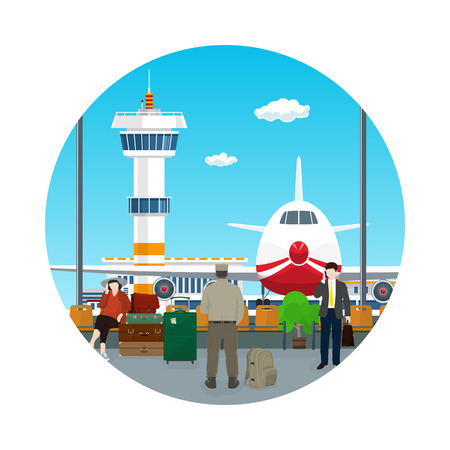 Icon Airport , View on Airplane and Control Tower through the Window from a Waiting Room with People , Travel Concept, Flat Design, Vector Illustration Illustration