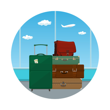 airport luggage: Icon, Retro Colored Suitcases and Trolley Suitcase and Travel Bag against the Window in the Waiting Room at the Airport , Luggage Bags for Traveling, Travel and Tourism Concept , Vector Illustration Illustration