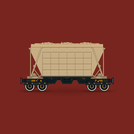 Hopper Car for Transportation Freights on Railway Platform Isolated on Red Background, Railway Transport , Vector Illustration