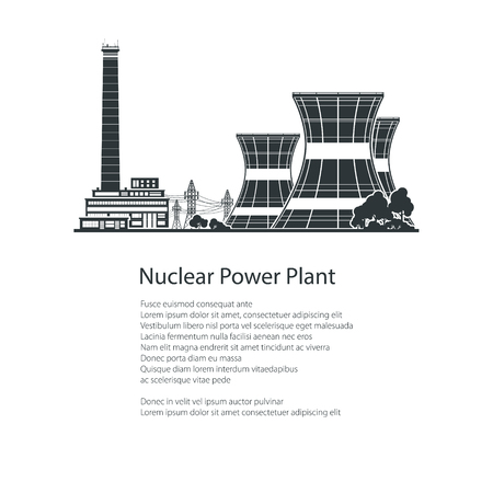 steam turbine: Text and Silhouette Nuclear Power Plant , Thermal Power Station, Nuclear Reactor and Power Lines, Poster Brochure Flyer Design, Black and White Vector Illustration