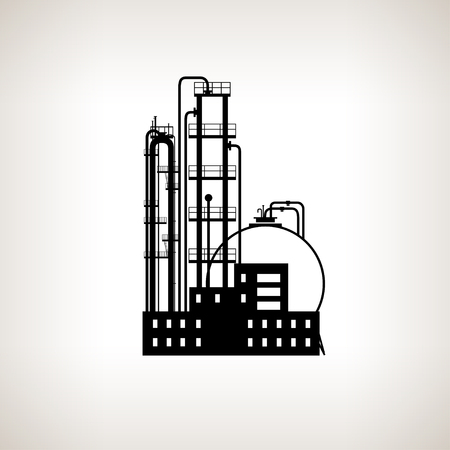 pollutants: Silhouette of a chemical plant or refinery processing of natural resources, or a plant for the manufacture of products .Chemical factory silhouette for industrial and technology design Stock Photo