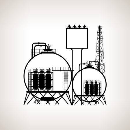 Silhouette of a chemical plant or refinery processing of natural resources, or a plant for the manufacture of products . Chemical factory silhouette for industrial and technology design