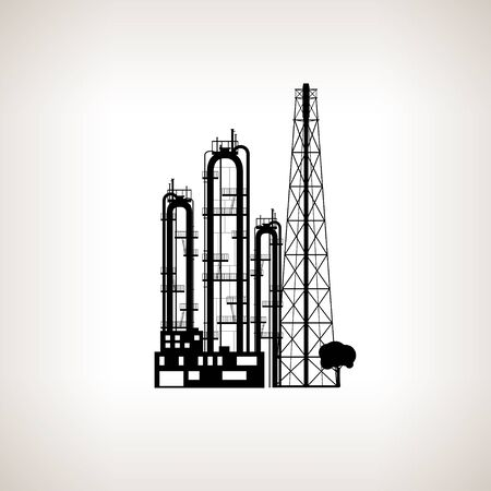 pollutants: Silhouette of a chemical plant or refinery processing of natural resources, or a plant for the manufacture of products . Chemical factory silhouette for industrial and technology design