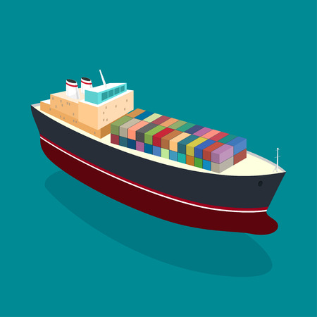 shipbuilding: Isometric container ship on the water, a top view of a cargo ship with containers on board in the ocean Stock Photo