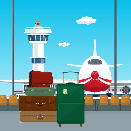 valise: View on Airplane and Control Tower through the Window from a Waiting Room with Retro Colored Suitcases and Trolley Suitcase and Travel Bag , Luggage Bags for Traveling , Travel and Tourism Concept