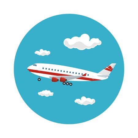 airplane travel: Airplane Flying in the Sky among the Clouds to the West, Travel and Tourism Concept , Air Travel and Transportation, Vector Illustration Illustration