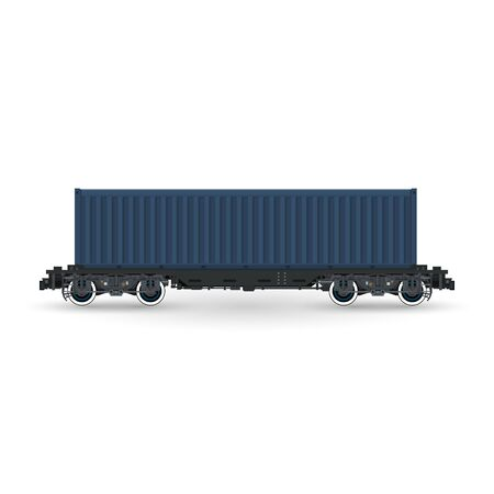 boxcar: Cargo Container on Railroad Platform Isolated on White Background , Railway and Container Transport, Vector Illustration