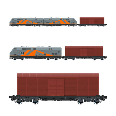 boxcar: Locomotive with Closed Wagon , Train, Railway and Cargo Transport, Vector Illustration Illustration