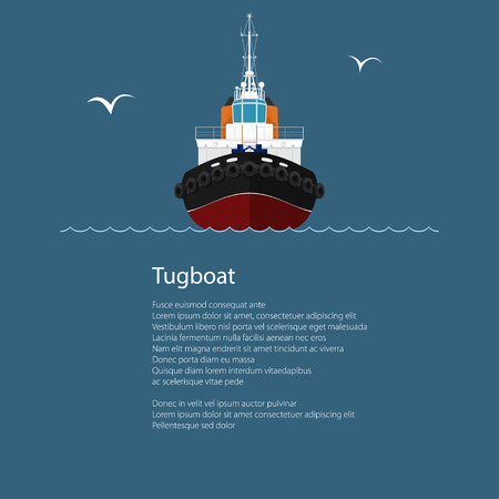 mooring: Front View of the Vessel Tugboat and Text, Push Boat, Tow Boat for to Towage and Mooring of Other Courts ,Poster Brochure Flyer Design, Vector Illustration Illustration