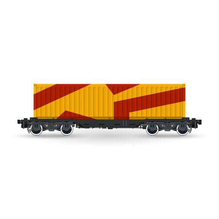 Orange Railway Container on Platform Isolated on White Background