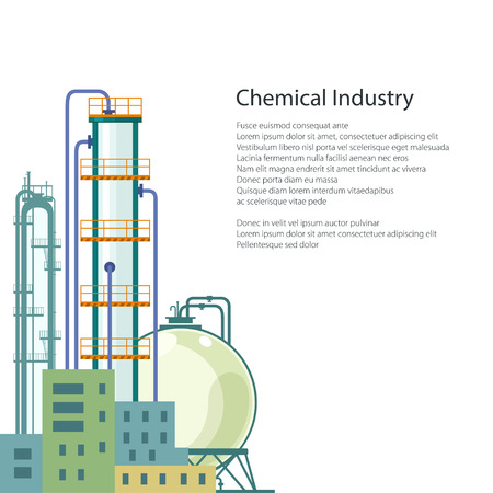 pollutants: Chemical Plant Isolated on White Background , Refinery Processing of Natural Resources, Industrial Pipes and Text ,Poster Brochure Flyer Design, Vector Illustration