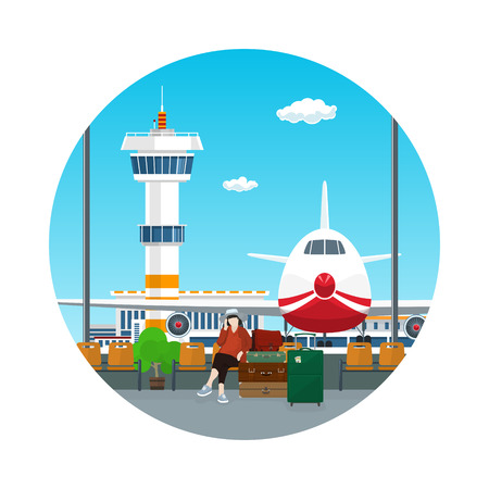 Icon Airport , View on Airplane and Control Tower through the Window from a Waiting Room with a Woman and Luggage , Travel and Tourism Concept, Flat Design, Vector Illustration