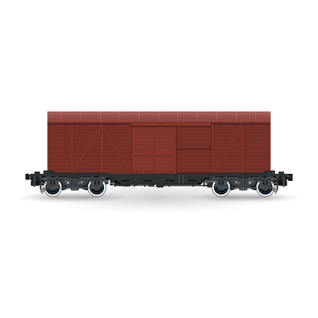 boxcar: Closed Wagon Isolated on White Background, Railway and Cargo Transport, Vector Illustration