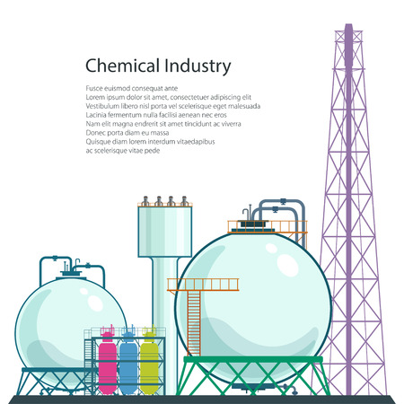 pollutants: Chemical Plant and Text , Refinery Processing of Natural Resources Isolated on White Background, Industrial Pipes ,Poster Brochure Flyer Design, Vector Illustration