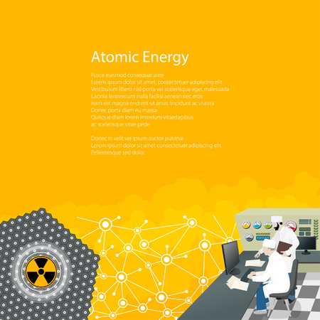 People near the Control Panel on a Thermal Power Station , Nuclear Power Plant, Text Atomic Energy , Radiation Sign, Poster Brochure Flyer Design, Vector Illustration