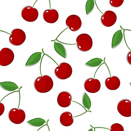 Seamless Pattern of Cherry, Fruit Pattern, Prunus Avium,Wild Cherry, Sweet Cherry, Bird Cherry or Gean Stock Photo